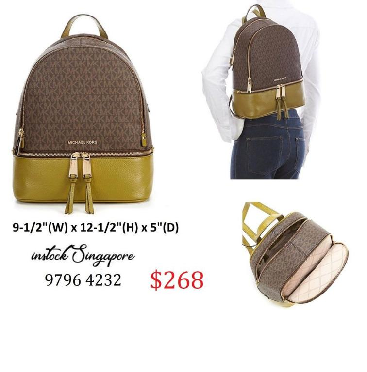 READY STOCK authentic new Michael Kors Rhea ZIP Medium Logo and Pebbled Leather Backpack (Pistachio) 30H8GEZB2B