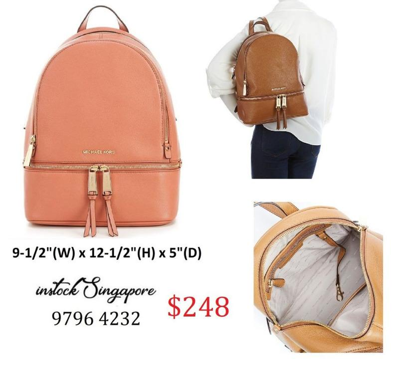 READY STOCK authentic new  Michael Kors Rhea ZIP Medium Logo and Pebbled Leather Backpack Sunset Peach