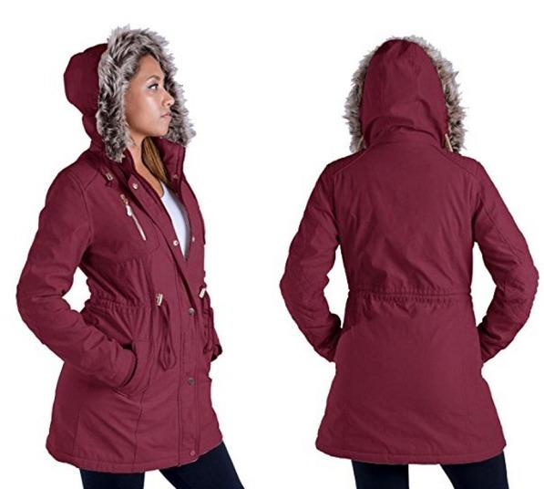 Women's Sherpa-Lined Military Style Parka Jacket (Size 16)