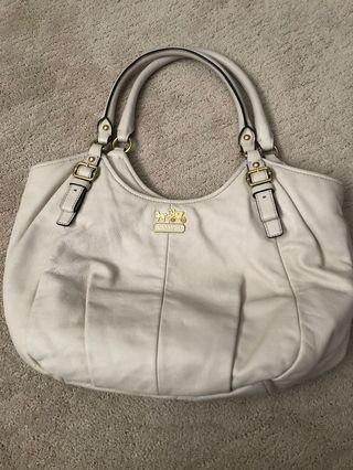Cream leather Coach purse