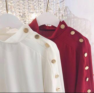 正韓🇰🇷小立領金釦上衣(紅/白)全新