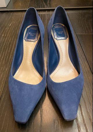 寶藍色麂皮高跟鞋