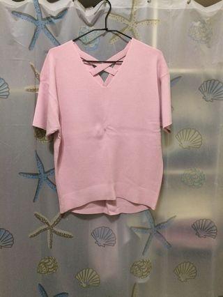 日本品牌Jeanasis後頸交叉針織上衣(粉色)