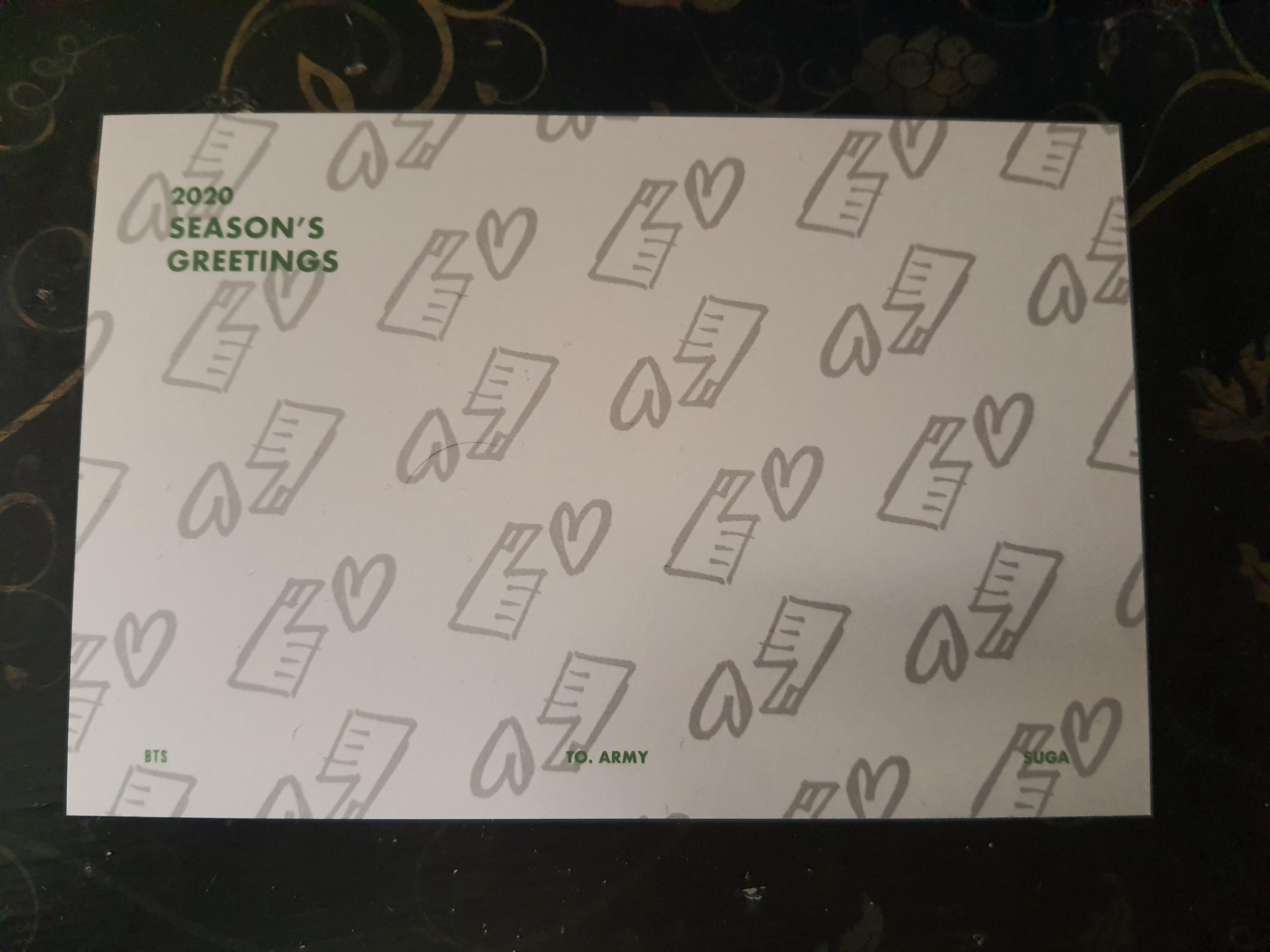 BTS 2020 SEASON'S GREETING SUGA MESSAGE GREETING CARD