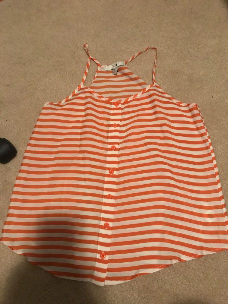 Forever21 orange and white striped racer back flowy tank
