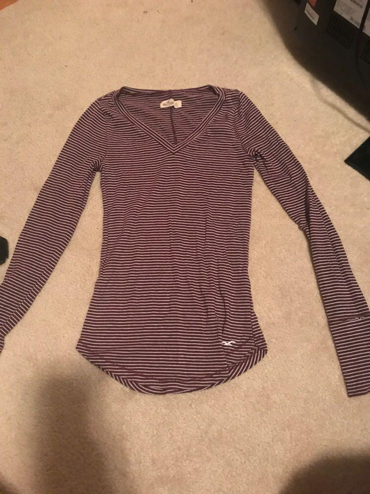 Hollister brown and white striped long sleeve v neck