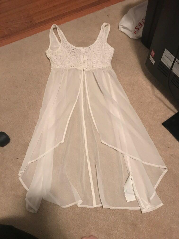 Hollister sheer white with weaves detail cover up dress