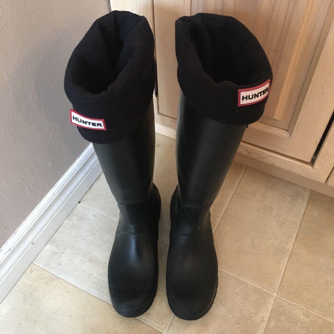 HUNTER Original Tall Black Rain Boots AND Sock Insoles