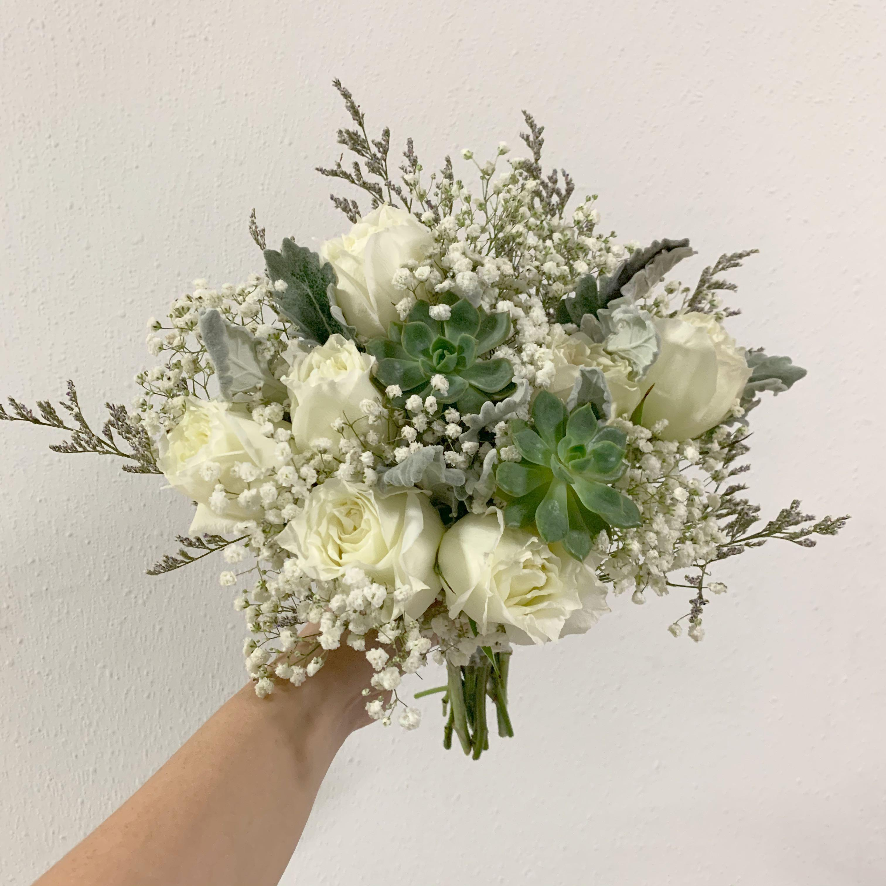 Rom Bouquet Of White Roses And Green Succulent With Baby Breath Wedding Flower Package Gardening Flowers Bouquets On Carousell