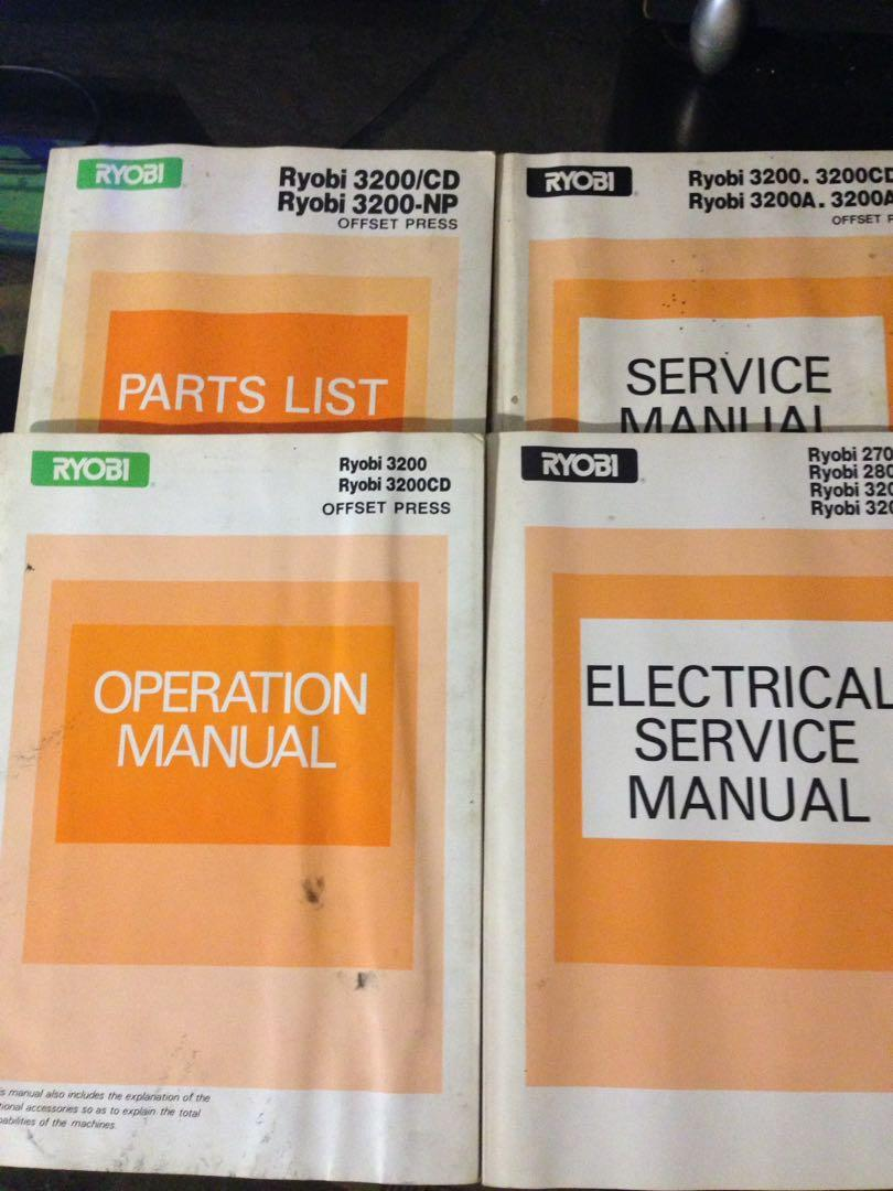Ryobi 3200 Series Offset Service/Electrical/Operation Manual&Parts List