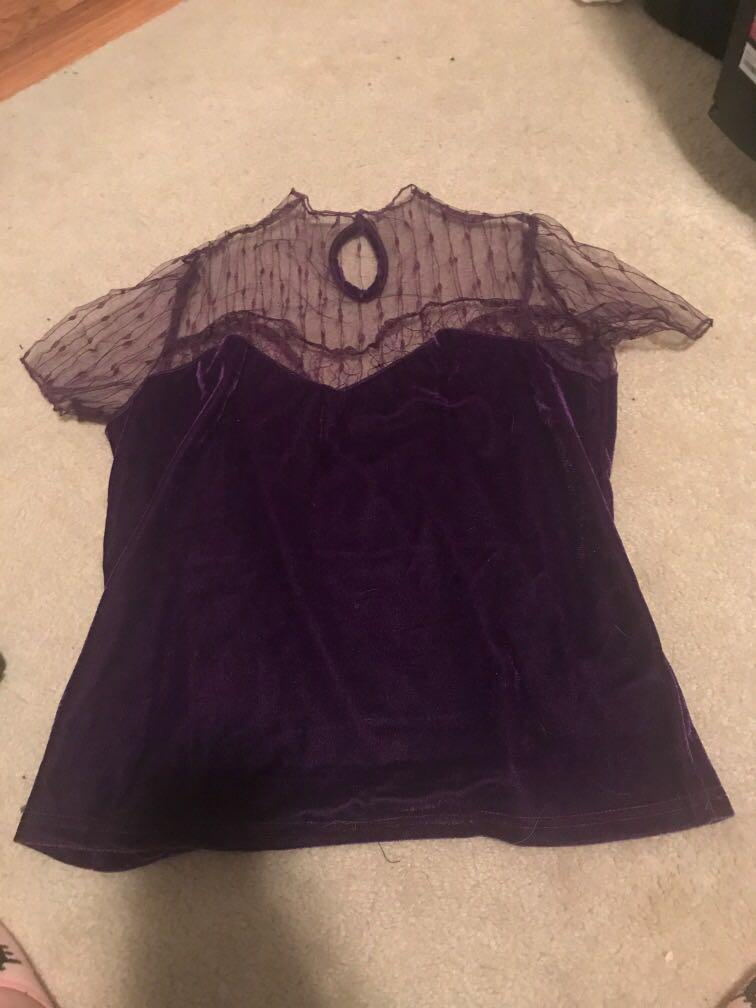 SHEIN purple velvet short sleeve top with mesh Lace detail