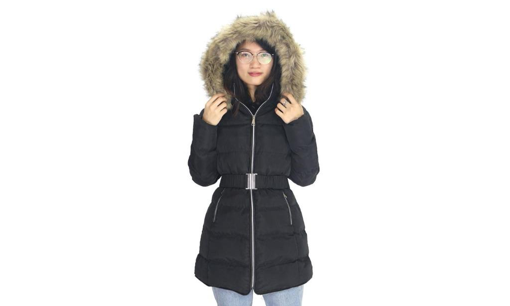 Women's Puffer Sherpa-Lined Hooded Belted Coat (Size L)