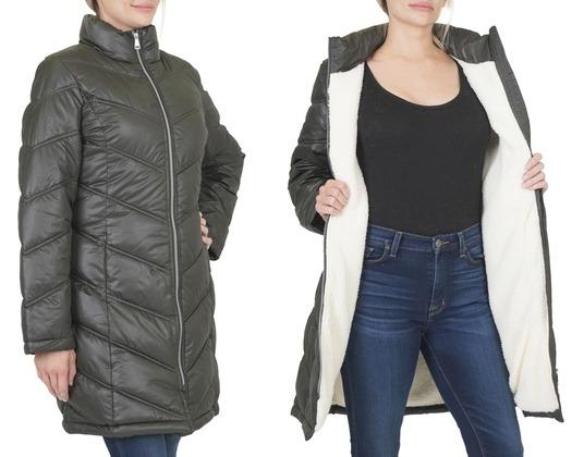 Women's Sherpa-Lined Chevron Puffer Jacket (Size XL) (Forest Green)