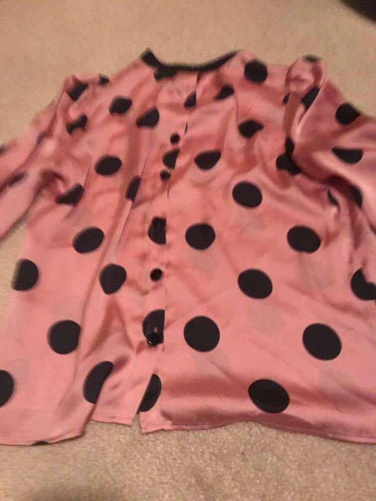 Zara pink polka dot silk blouse with button up back