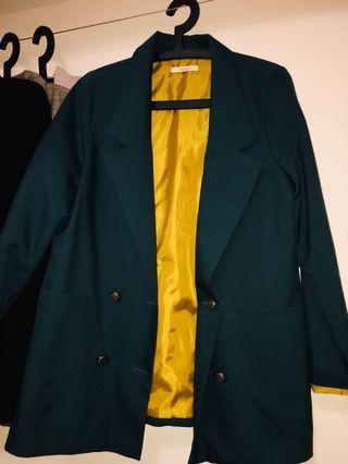 韓版墨綠芥末黃西裝外套
