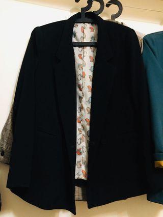 韓版黑色貓頭鷹西裝外套