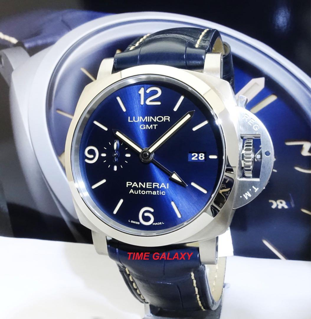 Brand New PANERAI PAM1033 Luminor Luminor 1950 Blue Dial 44mm 3days Automatic  GMT Stainless Steel Men's Watch
