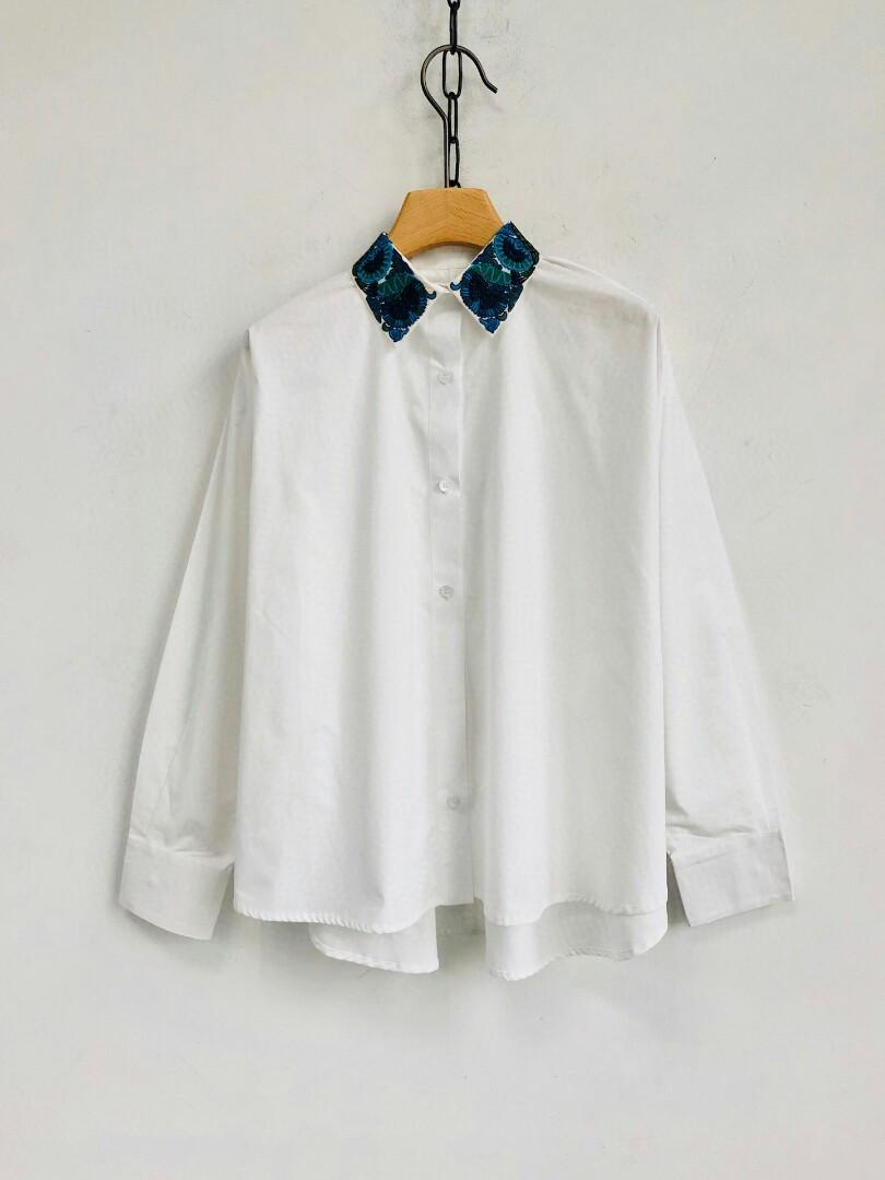 female section hook embroidery led solid shoulder line bat sleeve long sleeve shirt worsted cotton profile the official sell the k seasonal limited edition with blue color seiko embroidery as the beacon sex element on the base version of the archi
