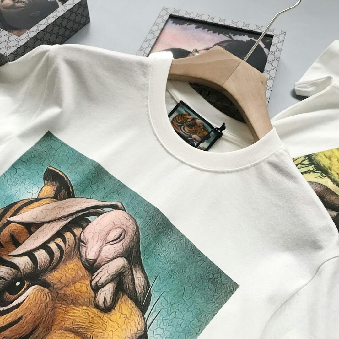 G spring summer zoological museum series of tiger rabbit joint design round collar couples with short sleeve T-shirt