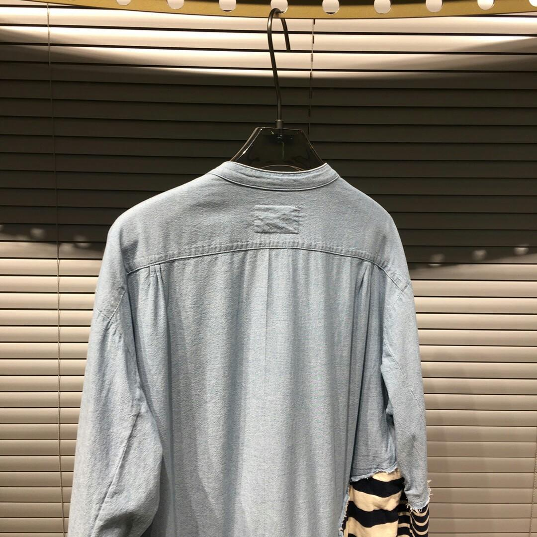 Greg lauren splicing striped shirt stripe fabrics of different left and right sides so must be made not custom make the total difference of rough feel very time consuming process is not difficult but very complex old effect after all many times washing wa