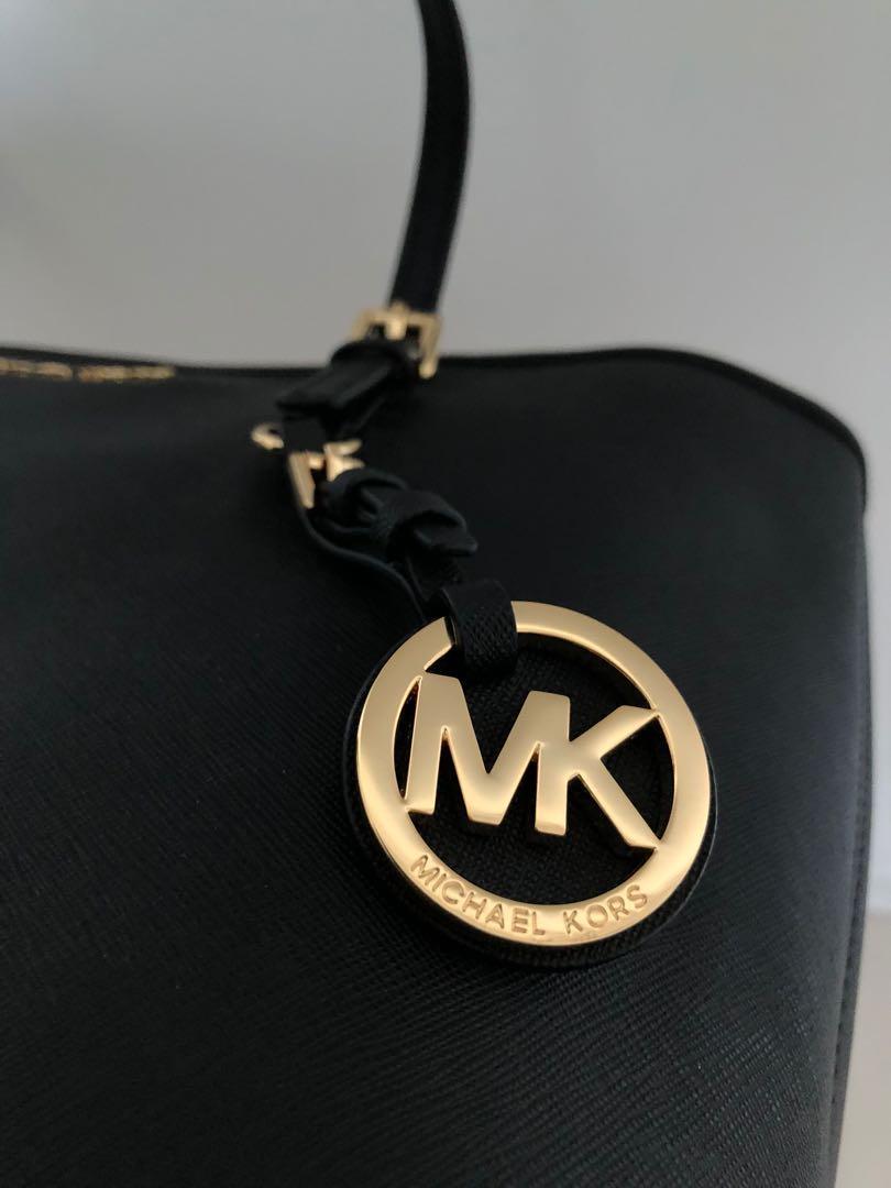 Michael Kors Jet Set Travel Saffiano Leather Small Tote Bag - BLACK