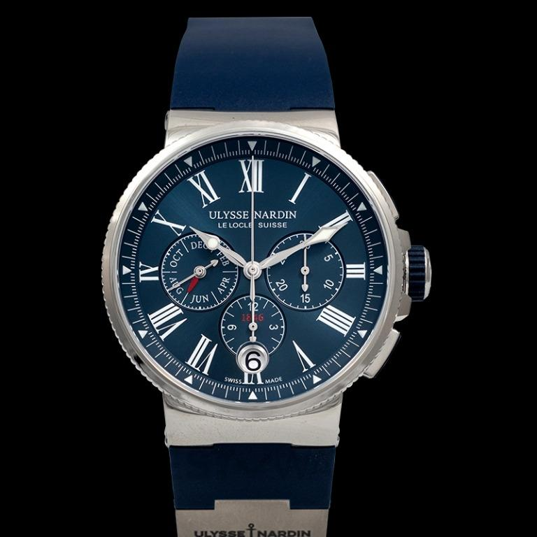 [NEW] Ulysse Nardin Marine Chronograph Stainless Steel Automatic Blue Dial Men's Watch 1533-150-3/43