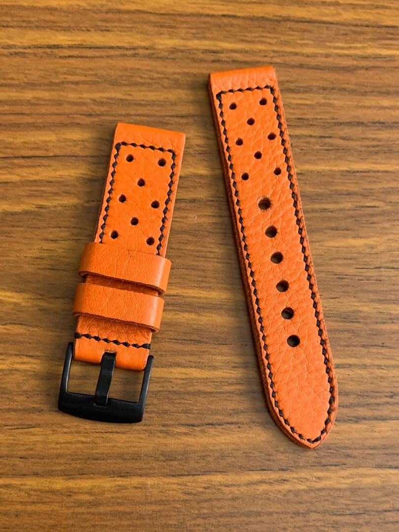 22mm/22mm Calf Leather - Orange racer Leather Watch Strap, soft and comfy L-125mm, S- 80mm Thickness - 3mm . 1 fixed 1 floating keepers (only one piece, once sold no more 😊) (hand-dyed, hand stitched)