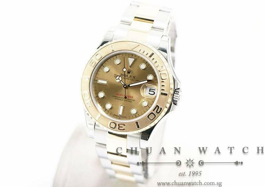 Pre-Owned Rolex Midsize Yacht-Master Two-Tone 35mm 168623 Champagne Sunburst Index - Discontinued