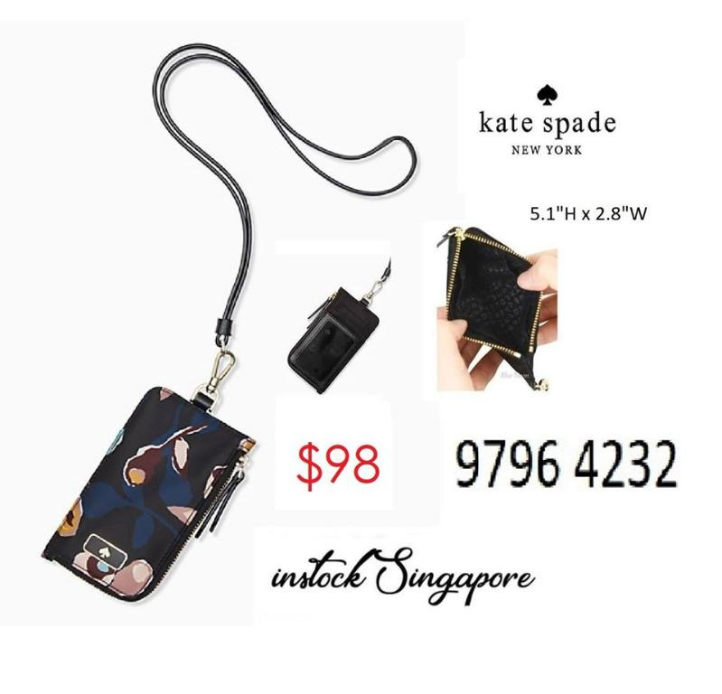 READY STOCK - AUTHENTIC - NEW Kate Spade Dawn Paper Rose Card Case Lanyard in Black Multi with zip wlru5558