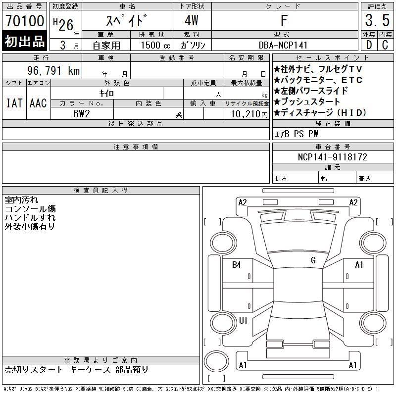 Toyota SPADE F Auto