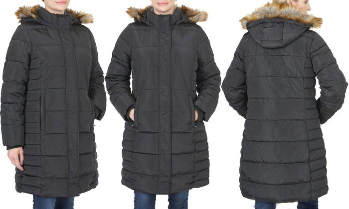 Women's Quilted Hooded Puffer Jacket with Cozy Lining, Black (Size M)