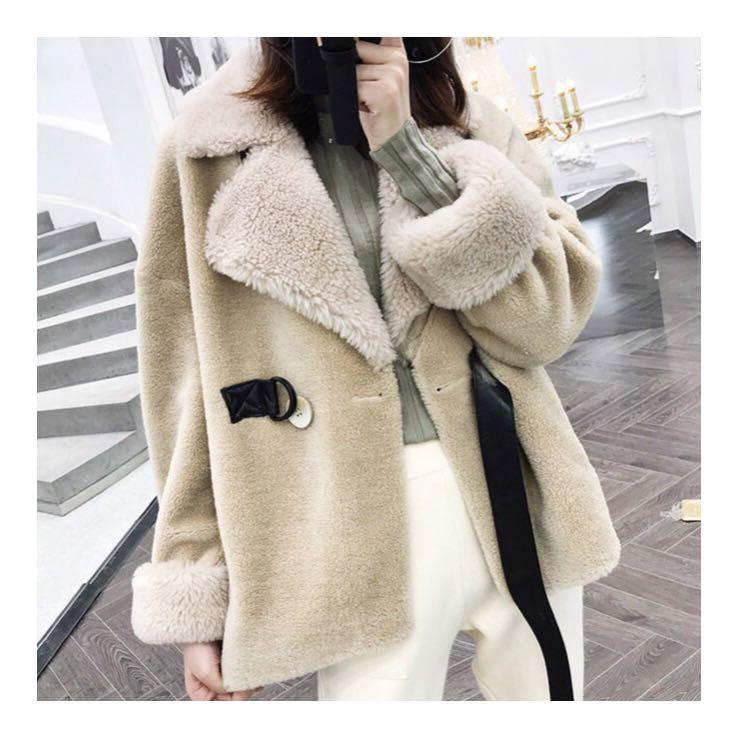 100% Wool Shearling Teddy Aviator Coat in Cream Size M