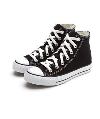 Lativ高筒黑色帆布鞋