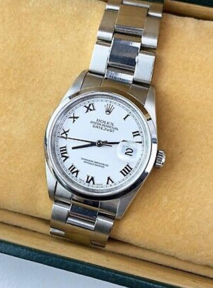 1999 Rolex 16200 Oyster Datejust Mens Roman Dial Stainless 36mm w/ box & papers