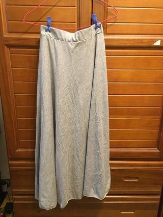鬆緊腰灰色長裙