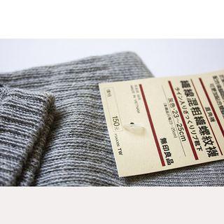 無印良品–織線混粗織螺紋襪子  自然灰
