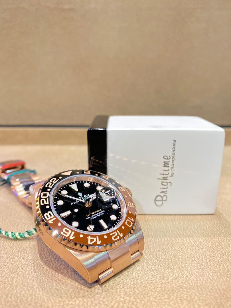 """Brand New Rolex Oyster Gmt Master II 126715CHNR """"Rootbeer"""" Black Dial Automatic Everose Rose Gold Casing Bracelet"""