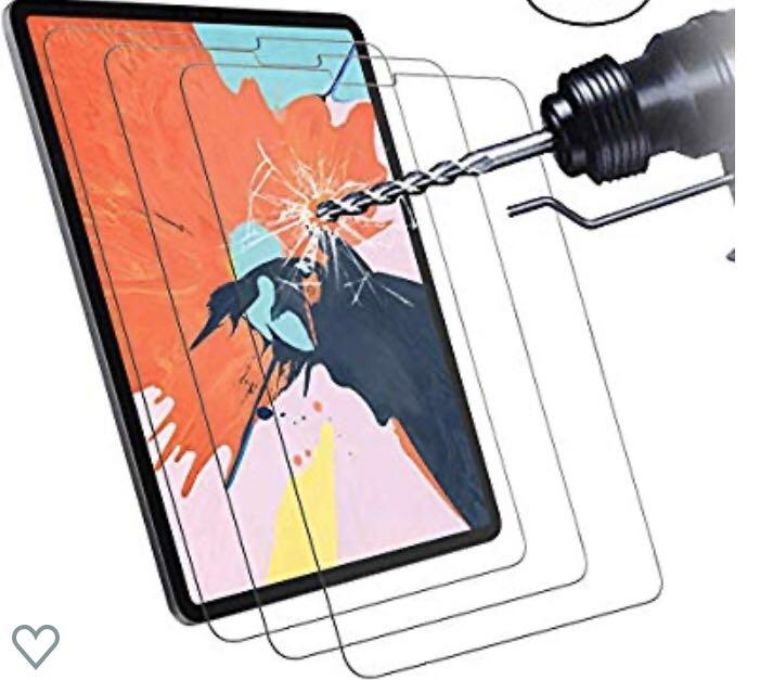 x2 Tempered Glass Screen Protector Film for iPad Pro 12.9 Inch 2018 Model ,Anti Scratch, 9H Hardness, High Definition, Easy to Apply,