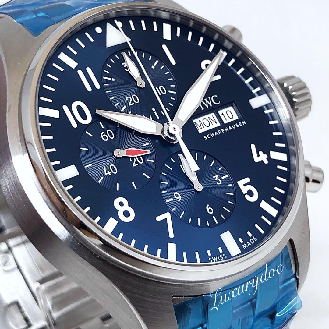 "FS.BNIB IWC PILOT'S WATCH AUTOMATIC CHRONOGRAPH EDITION ""LE PETITE PRINCE"" BLUE DIAL ON BRACELET 43MM WATCH IW377717"