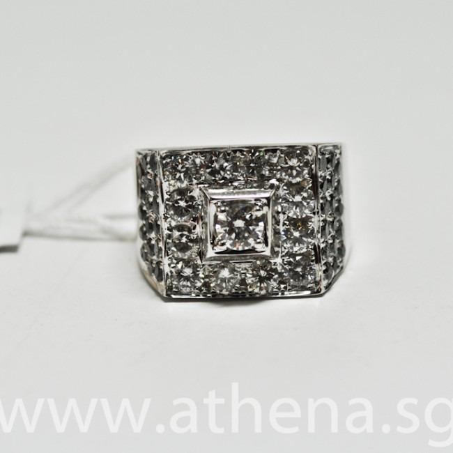 JW_DR_743 JEWELLERY 18K WG DIAMOND RING D1-0.23CTS D12-1.20CTS BLACK DIAMOND D34-0.65CTS 9.49G