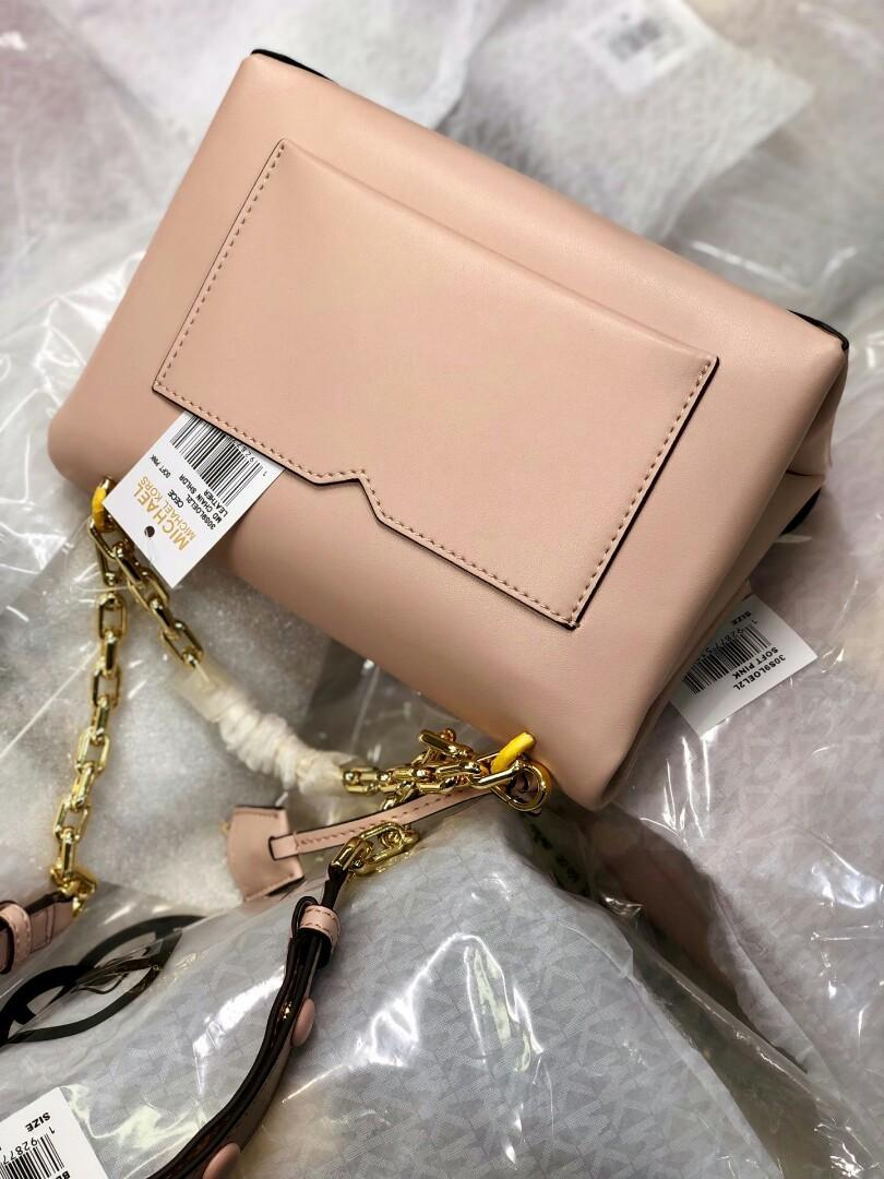 Original MK full skin medium chain single pale pink shoulder bag with concise package type controls the fashionable feeling