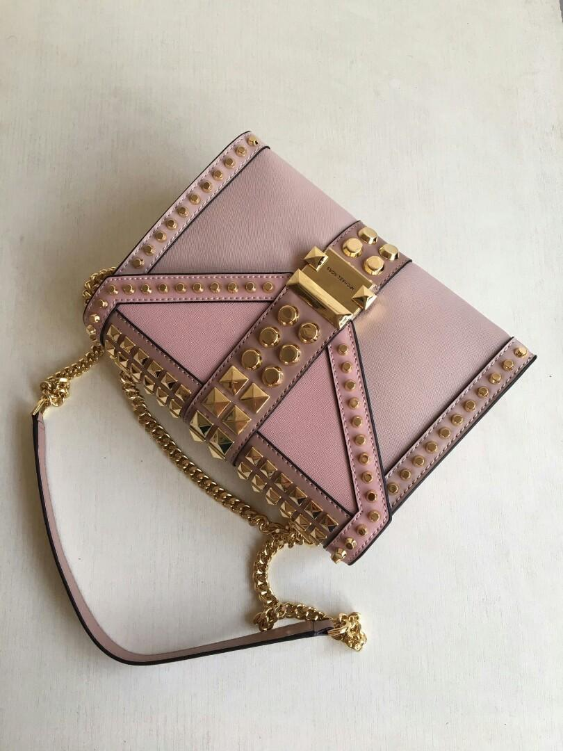 Original Mk series Whitney large rivet coriaceous single shoulder bag with concise line yan note rivet with individual character