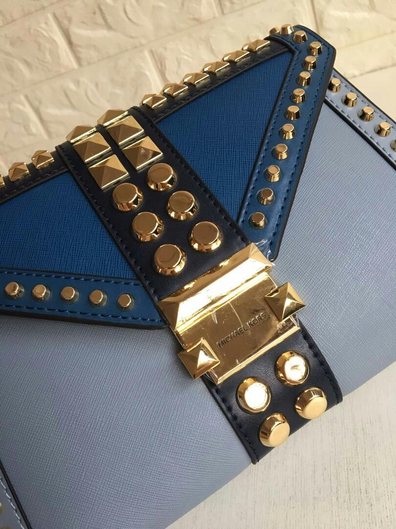 Mk series Whitney large rivet coriaceous single shoulder bag with concise line yan note rivet with individual character