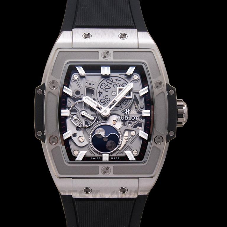 [NEW] Hublot Spirit Of Big Bang Moonphase Titanium Automatic Skeleton Dial Men's Watch 647.NX.1137.RX