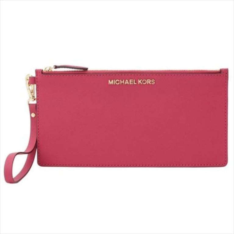 NEW Michael Kors MK Women's Jet Set Crossbody Sling Bag in Logo Monogram with Removable Leather Pouch (Lipstick Red Brown)