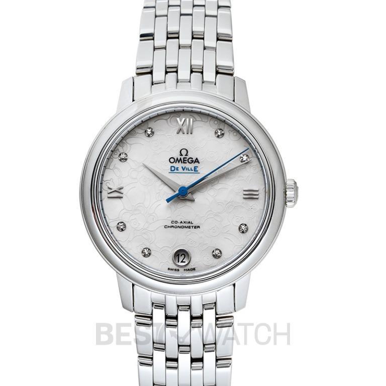 [NEW] Omega De Ville Prestige Co‑Axial 32.7mm Orbis Automatic White Dial Diamonds Ladies Watch 424.10.33.20.55.004