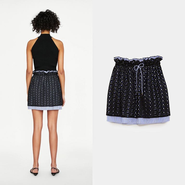 NWT ZARA Contrasting Embroidered Mini Skirt Size S