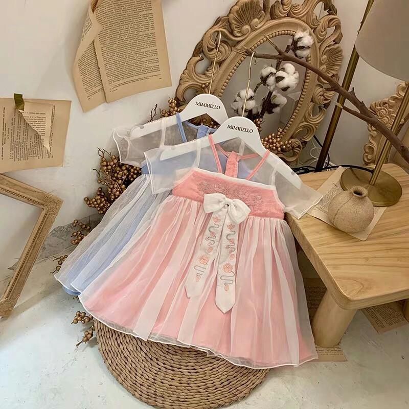 Original P web celebrity hot style of the latest hot style baby hanfu heavy embroidery sewing yarn overlap and become fleeciness feeling super good use organza neri cotton make body super beauty inside hem soft fluffy cotton and pure cotton fabrics us