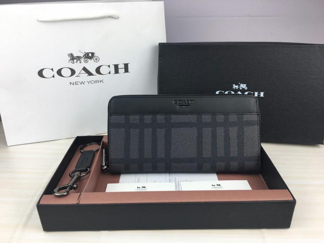 Original selections the coach - black long zipper man purse the official website of the new grid with grey skin soft moderate gun color hardware fittings screens dark bag with zipper practical full send friends family send leadership can packaging a