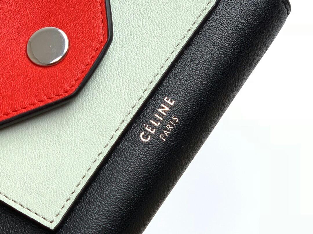 Original The original single tail cargo special price yuan Celine Celine imported cowhide bump ms color snap fastener short money wallet